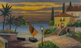 Sailboat and house by the lake at dusk royalty free illustration