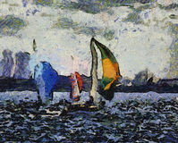 Painting sailboats. A painting of sailboats in the Sydney harbour with Sydney Opera House in the background. Done in the Van Goph style stock photography