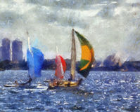 Painting sailboats. A painting of sailboats in the Sydney harbour with Sydney Opera House in the background. I created this painting from one of my personal stock images