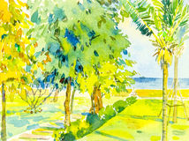 Painting seascape colorful of sea and green garden and emotion. Watercolor painting original seascape colorful of sea and green garden and emotion in blue stock illustration