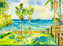 Painting seascape colorful of sea and green garden and emotion. Watercolor painting original seascape colorful of sea and green garden and emotion in blue royalty free illustration