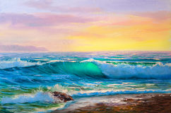 Painting seascape. Sea wave . Morning on sea, wave, illustration, painting acrylic paints on a canvas stock photography