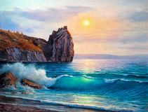 Painting seascape. Sea wave . Stock Photos