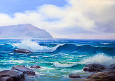 Painting seascape. Wave, illustration,picture acrylic paints on a canvas royalty free stock photography
