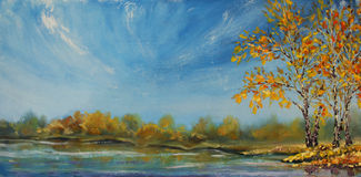 Painting of see, autumn trees. Autumn on the pond. Stock Image