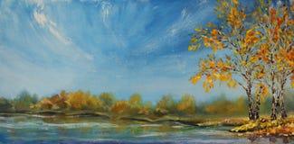Painting of see, autumn trees. Autumn on the pond. vector illustration