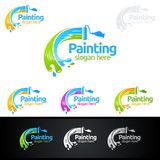 Painting business logo with colorful circle represented painting logo. Painting Service vector Logo design Royalty Free Stock Photography