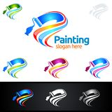 Painting business logo with colorful Splash represented painting logo. Painting Service vector Logo design Royalty Free Stock Photo