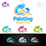 Painting business logo with colorful Splash represented painting logo. Painting Service vector Logo design Royalty Free Stock Photos