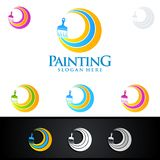 Painting business logo with colorful circle represented painting logo. Painting Service vector Logo design Royalty Free Stock Photos
