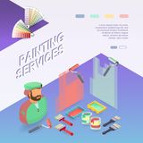 Painting services. Isometric building concept. Worker, equipment. Painting services. Isometric interior repairs concept. Worker, equipment and items isometric Royalty Free Stock Photos