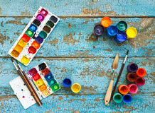 Painting set: brushes, paints, crayons, watercolor with copyspac Royalty Free Stock Photos