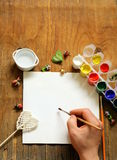 Painting set - brushes, paints (gouache) Royalty Free Stock Photo