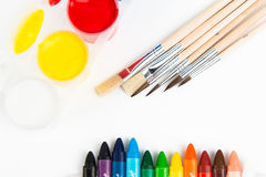 Painting set. Watercolor, brushes and coloured pencils Royalty Free Stock Photo
