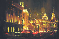 Painting of Shanghai The Bund at night Stock Image
