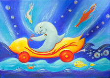 Painting of a shark in a racing car underwater. A funny, colorful and imaginative Children's painting of a cool shark driving a race car underwater stock illustration