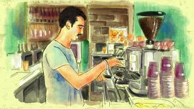 Painting shows a bartender preparing coffee in an espresso machine in a cafe bar Stock Image