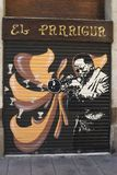 Painting on shutters. Barcelona. Spain Stock Photo