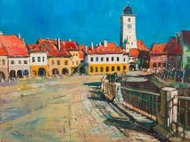 Painting of Sibiu Royalty Free Stock Image