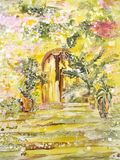 Painting on silk. Garden gates with stairs and flowers. royalty free stock photo