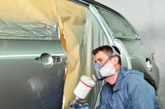 Painting silver car. Stock Photography
