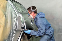 Painting silver car. Stock Image