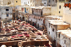 Painting skin. Workers tanning and dyeing (painting skin) in red hides in the vats of Fez tanneries, Morocco, Leather soaks in Fez royalty free stock photography