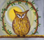 Painting of sneaky cunning brown owl on acrylic. Painting of a sneaky cunning looking owl coloured in brown with an orange beak set on a branch with yellow sun Royalty Free Stock Photography