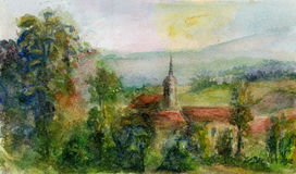 Painting of a Spanish Landscape with Church. Royalty Free Stock Photo
