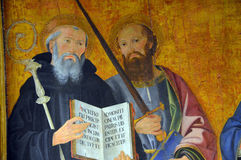 Painting of St Benedict at Basilica Papale San Paolo fuori le Mura Royalty Free Stock Images