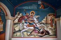 painting of St. George at the entrance to the monastery of Agios Georgios, Cyprus royalty free stock photos