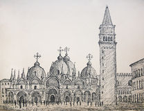 Painting of St. Mark's basilica in Venice Italy Royalty Free Stock Photography