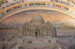 Painting of the St. Peter`s Basilica at the Vatican Museums royalty free stock images