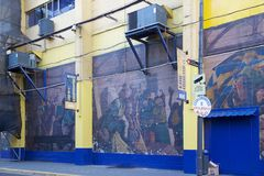 The stadium La Bombonera in La Boca, Buenos Aires, Argentina. Painting on the the stadium La Bombonera in La Boca in Buenos Aires, Argentina. The stadium is stock image