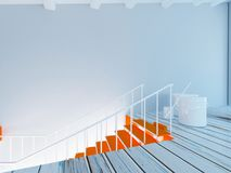 Painting of stairs, workflow in the room 3d Royalty Free Stock Photos