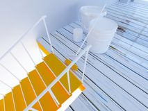 Painting of stairs, workflow in the room 3d Royalty Free Stock Photo