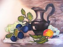 Painting of still life on silk. stock images