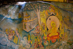 Painting on stone in Cave temple in Milkirigala royalty free stock photo