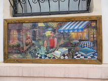 The painting on the street in Chernivtsi.  Royalty Free Stock Images