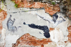 Painting of a street mural painting 'The Real Bruce Lee Would Ne. PENANG, MALAYSIA - NOV 26, 2015: Painting of a street mural painting 'The Real Bruce Lee Would Stock Photo