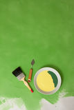 Painting stuff on a green background Royalty Free Stock Photography