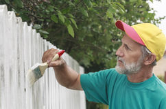 Painting suburban fence Stock Photos