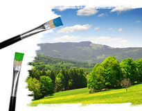 Painting summer landscape. With blue sky Stock Image