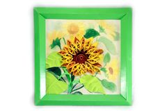 A painting of a sunflower made in the technique of quilling Royalty Free Stock Photos