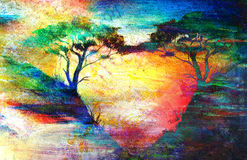 Painting sunset, sea and tree, wallpaper landscape Stock Photos
