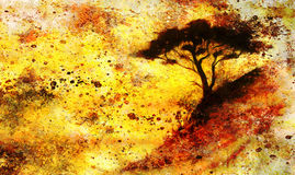 Painting sunset, sea and tree, wallpaper landscape Royalty Free Stock Photo