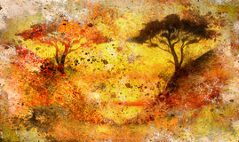 Painting sunset, sea and tree, wallpaper landscape Stock Photo