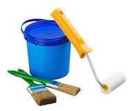 Painting supplies and tools. Isolated on a white background Royalty Free Stock Photo