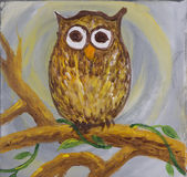 Painting of a surprised looking owl with big round eyes Stock Photography