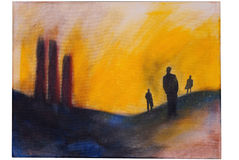 Painting of a surreal scene royalty free illustration